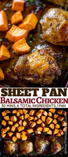 Sheet Pan Balsamic Chicken with Roasted Sweet Potatoes is the perfect fall weekn. Sheet Pan Balsamic Chicken with Roasted Sweet Potatoes is the perfect fall weeknight dinner you& love and won& feel guilty eating in just 30 minutes! Sweet Potato Recipes, Easy Chicken Recipes, Chicken And Sweet Potato Recipe Healthy, Recipes With Chicken Thighs, Pasta Recipes, Soup Recipes, Balsamic Chicken Thighs, Roasted Chicken Thighs, Boneless Chicken Thighs