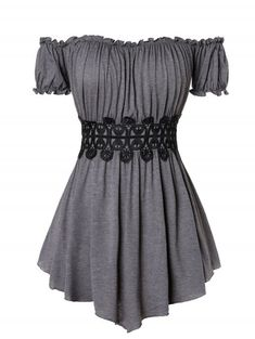 1c0897964b09a  CUSTOM  2019 Plus Size Lace Insert Off The Shoulder T Shirt In DARK GRAY