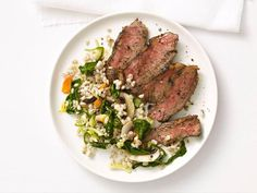 Boneless Grilled Sirloin Steak with Barley Salad is a great low-calorie dinner option.