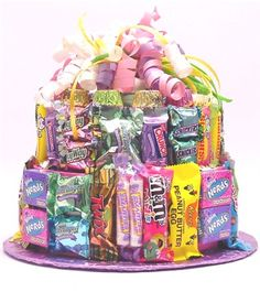Easter Candy Bar Cake is a delicious and unique gift for Easter, Mother's Day, Graduation and a wonderful Basket alternative