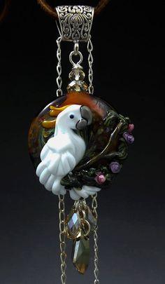 Sulphur Crested Cockatoo handmade lampwork focal parrot bead pendant necklace SRA