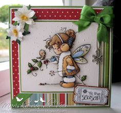Card with Winter Fairy by Wee Stamps for Whimsy Stamps by Veertje - Cards and Paper Crafts at Splitcoaststampers