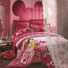 Pink Disney Room - can I have this for myself? Beauty And The Beast Bedroom, Disney Themed Bedrooms, Living Room Themes, Disney Home Decor, Teen Girl Bedrooms, Room Accessories, Cool Rooms, Kid Beds, Dream Bedroom