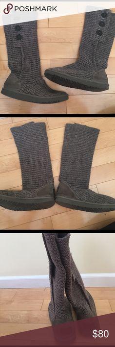 Uggs: Gray crochet Gray chrochet Uggs. Perfect condition UGG Shoes Winter & Rain Boots