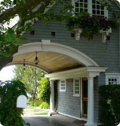 fantastic arched porte-cochere with natural wood vaulted ceiling . How I love a porte-cochere! Porte Cochere, Jones Design Company, Br House, Porches, My Dream Home, Dream Big, Architecture Details, Beautiful Architecture, Classical Architecture