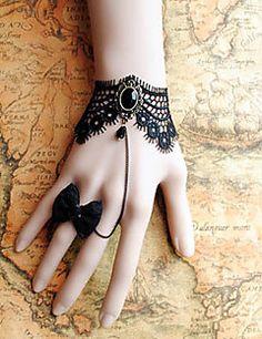 Браслет ручной работы в стиле Лолиты, с кружевом