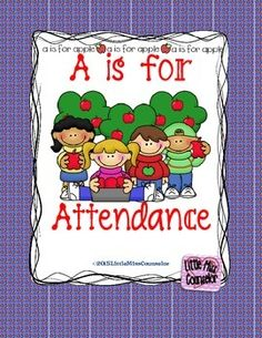 """Promote school wide attendance improvement and timeliness. Kit includes fun apple themed editable posters, individual letters to spell out """"perfect attendance"""", themed spirit week, attendance themed class names, attendance/timeliness count posters for morning meetings!"""