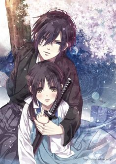 ✮ ANIME ART ✮ anime couple. . .romantic. . .love. . .sweet. . .being held. . .traditional clothing. . .yukata. . .sword. . .katana. . .flowers. . .flower petals. . .protective. . .cute. . .kawaii