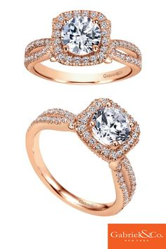 Thinking of proposing to your one and only with a unique Pink Gold engagement ring? Check out this is a gorgeous 14k Pink Gold Diamond Halo Engagement Ring by Gabriel & Co. Discover the perfect engagement ring to propose with at www.gabrielny.com.