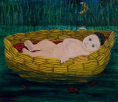 Alice Kaira: Mooses-lapsi, 1970,  öljyväri kankaalle, 46,2x55,5 cm - Oulun Taidemuseo Finland, Painting, Design, Painting Art, Paintings, Painted Canvas, Design Comics