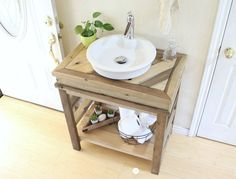 This Small Bathroom Vanity is ideal for your extra powder room or guest bathroom.  With an open modern feel, clean lines, and unique design it is sure to add beauty and character to any bathroom.  Finish it rustic, or paint it for a more modern look, this weekend build is sure to impress your guests
