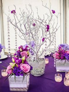 Wedding Table Decoration in Purple #WeddingVenue - Knot For Life