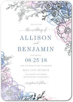 Floral Fringe - Signature Foil Wedding Invitations in Taffy or Sea Glass | Lady Jae