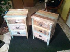 My new nightstands from Maple Hill Artisans.  They go great with my old iron bed!