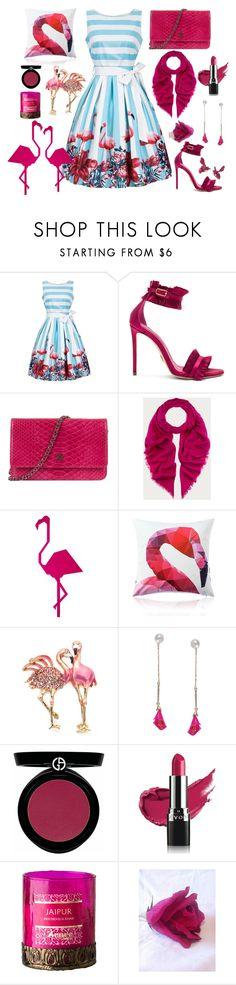 """Fresh Stripe Flamingos"" by yournightnurse ❤ liked on Polyvore featuring Oscar Tiye, Chanel, Bally, Napier, Humble Chic, Giorgio Armani and Avon"