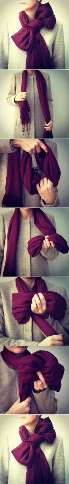 DIY Scarf Bow Making a scarf bow is great and you can really make this by. Look Fashion, Diy Fashion, Fashion Beauty, Autumn Fashion, Womens Fashion, Fashion Tips, Bow Scarf, Scarf Knots, Cooler Style