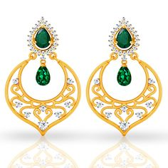 Order this stunning emerald and diamond studded chandbali earring at 15% discount from #jacknjewel . Buy Emerald chandbali online @ Jacknjewel.com