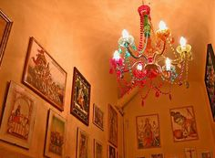 gypsy decor, boho design, colored light, painted chandelier