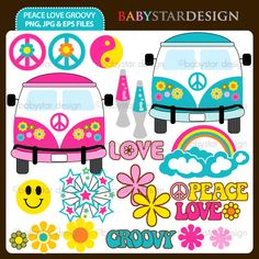 "20 graphic elements of ""Peace love and Groovy"" theme. Perfect for your party invitations, craft projects, paper products, stationery, scrapbooking, web designs, stickers and many more!"