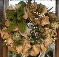 Burlap and Moss Spring Deco Mesh Wreath