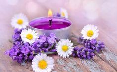 Обои цветы, лепестки, свечи, лаванда
