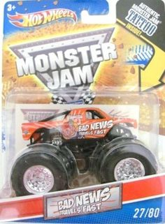 2011 Hot Wheels Monster Jam #27/80 BAD NEWS TRAVELS FAST 1:64 Scale Collectible Truck with Monster Jam TATTOO by Mattel. $3.50. Official Monster Jam Truck. 2011 Production Year. 1:64 Scale (Small Truck). Die-cast. Includes Authentic Monster Jam Tattoo. Crush the Competition with this 1:64 scale Hot Wheels truck! Die cast body and chassis mega monster tires & 4-wheel turning action. Let the dirt fly with these ground-poundin Hot Wheels Monster Trucks. Rev up for total dominatio...