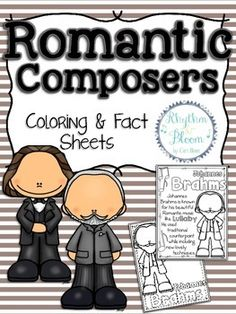 These fun review worksheets include 6 coloring and 6 fact sheets for the following: Franz Liszt Richard Wagner Johannes Brahms Peter Tchaikovsky Sergei Rachmaninoff Frederic Chopin. Be sure to check out the matching Romantic Composers Bulletin Board Set ------------------------------------------------------------------------------------------ More Fantastic Composer