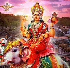 Lakshmi is also called Sri or Thirumagal because she is endowed with six auspicious and divine qualities, or gunas, and is the divine strength of Vishnu Durga Images, Lakshmi Images, Kriya Yoga, Navratri Puja, Divine Mother, Mother Goddess, Navratri Festival, Spiritual Images, Hindu Mantras