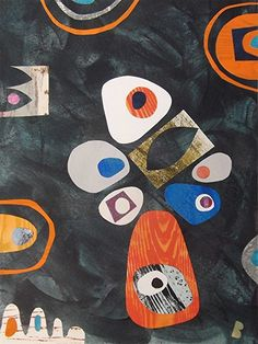 Dark Abstract Collage Painting Retro Style by artbeadbutton, £30.00