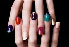 YSL Modern Colored French Manicures #style #nail