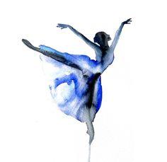 Ballett Ballerina ART PRINT 12X16 ursprünglichen Aquarellmalerei Darstellung Hauptwanddekor modernen zeitgenössischen Reproduktion Plakat