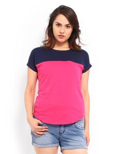 Buy Roadster Women Pink & Navy Top - 310 - Apparel for Women from Roadster at Rs. 489