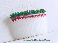 Pink and Green Bubbles Hair Comb by BelleJewelryDesign on Etsy, $10.00