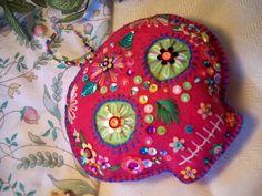 Pink felt sugar skull. Day of the dead ornament.