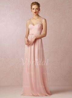 Bridesmaid Dresses - $149.46 - A-Line/Princess V-neck Floor-Length Chiffon Satin Bridesmaid Dress With Bow(s) (0075091897)