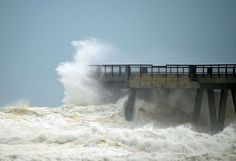 Hurricane Isaac versus Navarre Beach Pier, the longest concrete pier on the Gulf of Mexico Navarre Beach Florida, Pensacola Florida, Florida Beaches, Beach Vacation Spots, Vacation Places, Life In Paradise, Weather Watch, Florida Pictures, Weather Underground