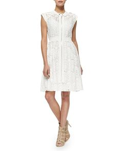 Santana Lopez's Rebecca Taylor Cap Sleeve A Line Lace Dress Lace Dress, White Dress, Figure Flattering Dresses, Taylor White, Rebecca Taylor, Lovely Dresses, White Lace, Cap Sleeves, Fashion Dresses