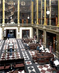 """Cincinnati Public Library """"Old Main"""" : Colorization Cincinnati Library, Main Library, Colorized Photos, Inside Outside, Interesting Buildings, High Quality Images, Trip Planning, Maine, Beautiful Places"""