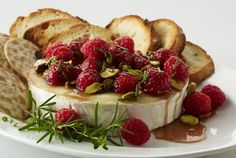 Holiday Warm Brie with Honeyed Raspberries and Pistachios