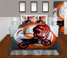 Hey I Found This Really Awesome Etsy Listing At Https Www 215993280 Orange Motocross Duvet Cover Kids