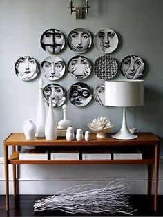 How To Decorate With Fornasetti Plates Fornasetti Plate Wall Decor The post How To Decorate With Fornasetti Plates appeared first on Wohnaccessoires. Plate Wall Decor, Plates On Wall, Hanging Plates, Home Interior, Interior Decorating, Interior Design, Interior Stylist, Eclectic Design, Bathroom Interior