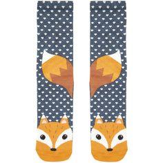 Accessorize Frankie Fox Face Socks ($7) ❤ liked on Polyvore featuring intimates, hosiery, socks, underwear and fox socks