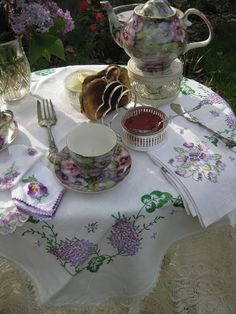 Delightful tea time settting.  Tea At The Garden Place... (1) From: Bernideen Teatime Blog, please visit