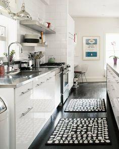 white kitchen, dark floor?