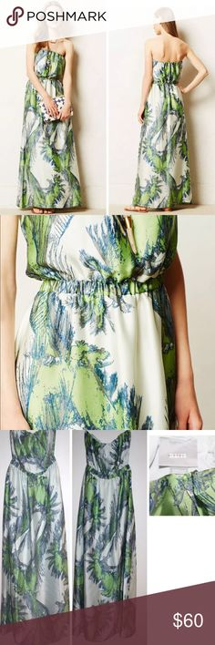 """ANTHROPOLOGIE MAEVE SABAL FLORAL MAXI DRESS NEW We can't resist a dress that goes from al fresco brunch to summer soiree without missing a beat, like this silky, palm-printed maxi dress from Maeve. Pair it with strappy sandals or sky-high wedges and beach-tousled locks.  By Maeve Pullover styling Polyester; polyester lining Dry clean Regular falls 58"""" from shoulder Imported Style No. 4130230464040 new without the price tag, inner label marked, perfect condition.       $158 retail…"""