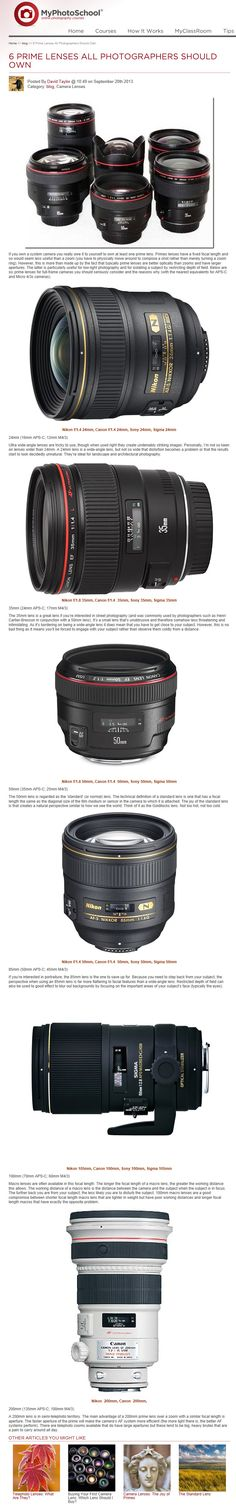 6 Prime Lenses Every Photographers Should Own: Do you own a prime lens or are thinking of buying one? In this article we explain which prime lenses all photographers should own. Photography Lessons, Photography Camera, Photography And Videography, Photography Business, Photography Tutorials, Digital Photography, Amazing Photography, Nikon, Fotografia Tutorial