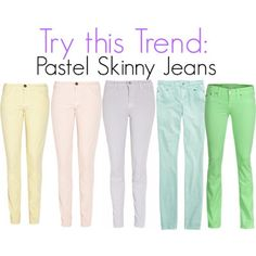 pastel skinny jeans I'm scared to try this trend but kind of want to