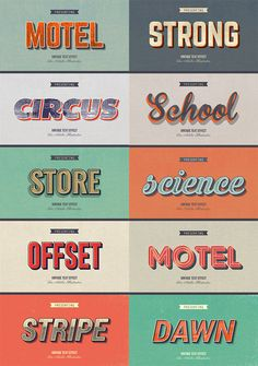 This is a pack of 10 different vintage and retro graphic styles that are suitable for web designs, posters, typography, and other graphic designs. design 33 Premium Retro and Vintage Text Graphic Style for Illustrator Retro Graphic Design, Graphic Design Posters, Graphic Design Typography, Vintage Design Poster, Branding Design, Packaging Design, Vintage Designs, Inspiration Typographie, Typography Inspiration