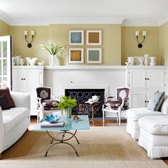 on the Level In room with low ceilings, look at height of elements within  space. Too many tall armoires or bookcases will make the ceiling seem even lower. Keep built-inssame height as fp mantel to create 1visual plane. built-in cabinets in lr are only as tall as the fireplace's mantel, which crowns its brick surround. Painting all of the elements the same color also helps with continuity