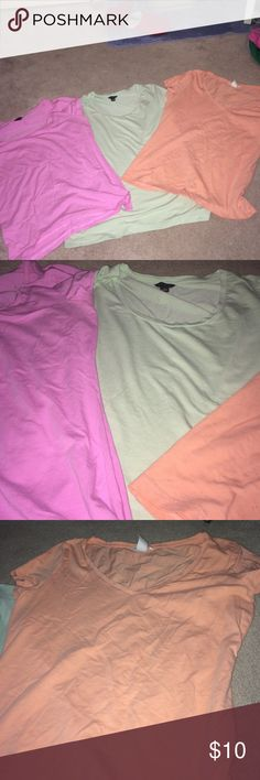 T-Shirt Bundle!!!! Two Ann Taylor u-neck tees in pastel pink and green size small! Pastel Orange V-Neck from H&M is a medium! Tops Tees - Short Sleeve